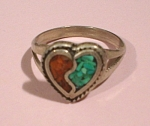 Click here to enlarge image and see more about item j01013: Unmarked Southwestern Style Heart Ring