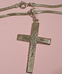 Click here to enlarge image and see more about item j01016: Italian Sterling Silver Cross Necklace
