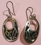 Click to view larger image of Taxco Sterling Silver and Abalone Pierced Earrings (Image1)