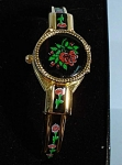 Click here to enlarge image and see more about item j01054: Bracelet Watch Enameled Rose Design