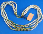 Click here to enlarge image and see more about item j01175: Castlecliff 4 Strand Earthtone/Green Necklace