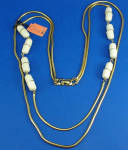 Click here to enlarge image and see more about item j01185: Castlecliff Goldtone Two Strand Necklace