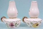 Click here to enlarge image and see more about item k00015: 1950's Poinsettia Pottery Lantern Shakers