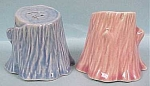 Click here to enlarge image and see more about item k00017: 1950s Pastel Pottery Tree Stump S/P Shakers