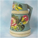 Hand Painted Wood Pitcher Toothpick Holder