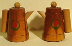 Wood Coffeepot Salt and Pepper Shakers