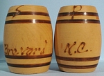 Wood Barrel Salt and Pepper Shakers