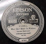 Click here to enlarge image and see more about item m00093: Edison Record #51459: 'Prisoners Song' 'West in Kansas'