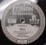 Click here to enlarge image and see more about item m00109: Edison Record #50959: 'Who' and 'Swaying'
