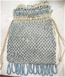 Click here to enlarge image and see more about item m00212: Blue Glass Beaded Drawstring Purse