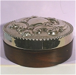 Click here to enlarge image and see more about item m00254: Wood and Silverplate Trinket Box