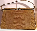 Click here to enlarge image and see more about item m00325: Vintage Sterling Brand Lizard Skin Purse