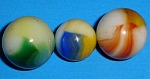 Click here to enlarge image and see more about item mr00045: Three Akro Agate Patch Marbles
