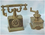 Click here to enlarge image and see more about item mt00095: Brass Finish Pot Metal Phone and Coffee Grinder
