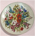 Click to view larger image of Floral Enameled Metal Plate Austria (Image1)
