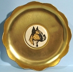 Click here to enlarge image and see more about item mt00139: Small Aluminum Pintray with Boxer Dog Center Disc