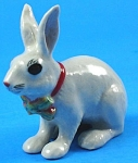 R262r White Easter Bunny with Ribbon