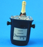 Click here to enlarge image and see more about item n01095: K741 Porcelain Miniature Champagne Bottle in Ice Bucket