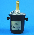 Click here to enlarge image and see more about item n01096: K741 Porcelain Miniature Champagne Bottle in Ice Bucket