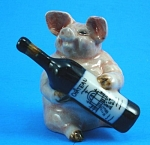 Click here to enlarge image and see more about item n01184: K400 Pig with Wine Bottle