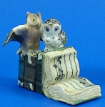 K482 Owls on Antique Style Books
