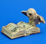 Click here to enlarge image and see more about item n01213: Klima K482 Owl on Antique Style Book