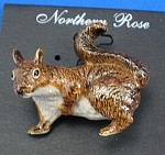 Click here to enlarge image and see more about item n01251: Northern Rose Porcelain Red Squirrel Pin