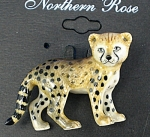 Click here to enlarge image and see more about item n01330: Northern Rose Porcelain Baby Cheetah Pin