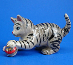 Click here to enlarge image and see more about item n01340: R116 Grey Tabby Cat Playing with Christmas Ornament