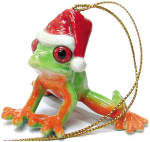 Click here to enlarge image and see more about item n01357: R259 Tree Frog with Santa Hat Ornament