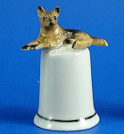 Click here to enlarge image and see more about item n01537: K4341 German Shepherd Thimble