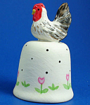 Click here to enlarge image and see more about item n01653: Hand Painted Ceramic Thimble - Chicken
