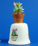 Click here to enlarge image and see more about item n01662: Hand Painted Ceramic Cactus Planter on Thimble Table