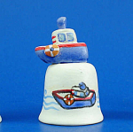 Click here to enlarge image and see more about item n01664: Hand Painted Ceramic Thimble - Toy Boat