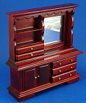 Click here to enlarge image and see more about item n01770: Dollhouse Wood Mirrored Dresser