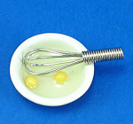 Click here to enlarge image and see more about item n01831: Dollhouse Miniature Eggs in Dish and Metal Whisk