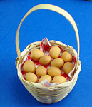 Click here to enlarge image and see more about item n01853: Dollhouse Miniature Basket of Ceramic Eggs