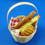 Click here to enlarge image and see more about item n01855: Dollhouse Miniature Basket of Ceramic Bread