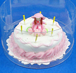 Click here to enlarge image and see more about item n01856: Dollhouse Miniature Birthday Cake