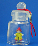 Click here to enlarge image and see more about item n01916: Miniature Clown Doll in a Bottle