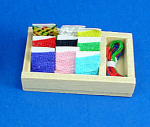 Click here to enlarge image and see more about item n01966: Dollhouse Miniature Sewing Box