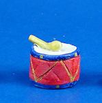 Click here to enlarge image and see more about item n01970: Dollhouse Miniature Hand Painted Ceramic Drum