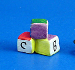 Click here to enlarge image and see more about item n01973: Dollhouse Miniature Hand Painted Ceramic ABC Blocks