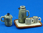 Click here to enlarge image and see more about item n01986: Dollhouse Miniature Coffee Set and Tray