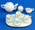 Click here to enlarge image and see more about item n01988: Dollhouse Miniature Tea Set and Tray