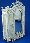 Click here to enlarge image and see more about item n02059: Dollhouse Miniature Wicker Style Metal Armoire
