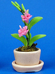 Click here to enlarge image and see more about item n02155: Dollhouse Miniature Flowers in Porcelain Planter
