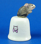 Handpainted Ceramic Thimble - Mouse