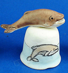 Handpainted Ceramic Thimble - Whale