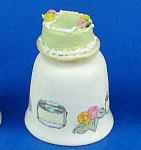 Click here to enlarge image and see more about item n02682: Hand Painted Ceramic Thimble - Cake